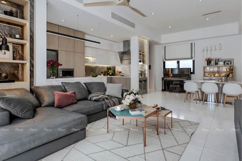 Các họa tiết trang trí đặc sắc tăng phần sinh động cho không gian phòng khách