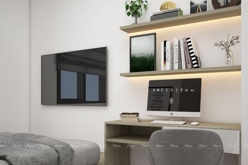 Vị trí bàn làm việc được tận dụng ngay không gian trống trong phòng ngủ