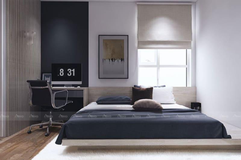Phòng ngủ được thiết kế theo xu hướng nghệ thuật đơn giản