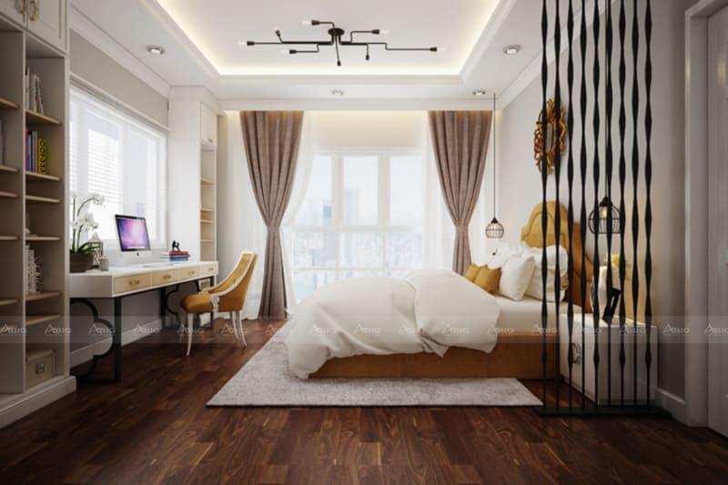 Phòng ngủ được trang trí bởi đèn chùm nghệ thuật