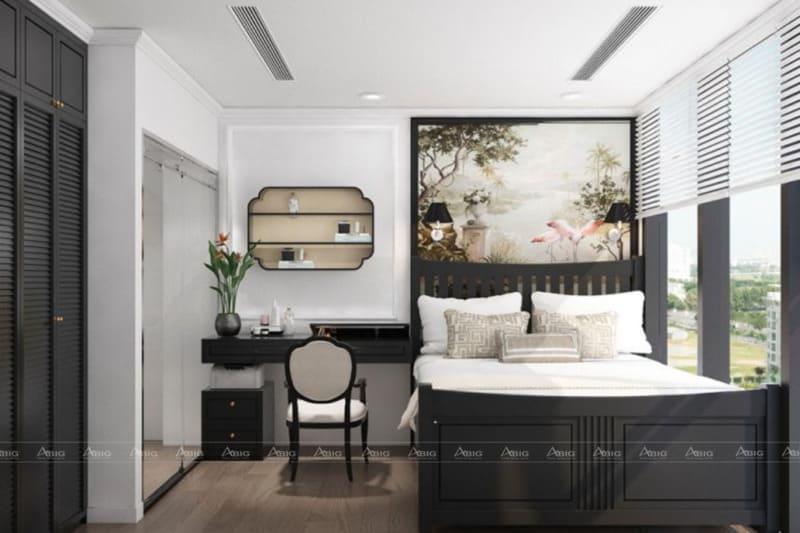 Phong cách phòng ngủ đầy nghệ thuật với kiến trúc thế hệ trước.