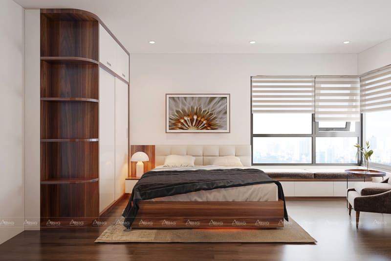 Phòng ngủ với các phào chỉ chạy trên tường và cửa sổ lớn ngắm toàn cảnh.
