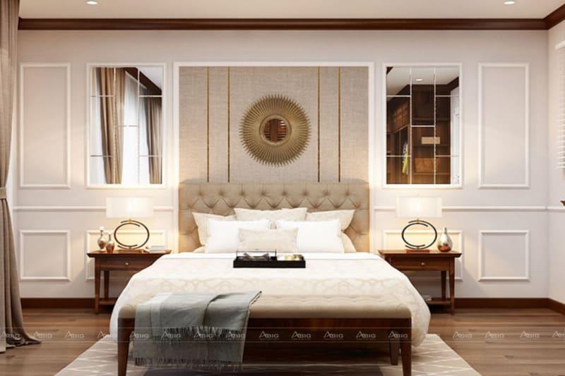 Tone màu sáng với hiệu ứng từ đèn giúp cho phòng ngủ ấm áp hơn