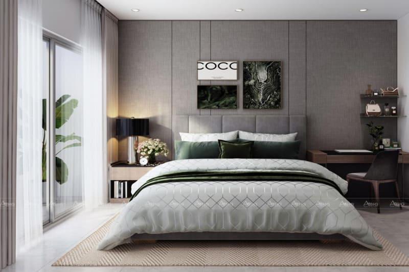 Phòng ngủ với gam màu trắng xám mang đến cảm giác ấm áp mỗi khi nghỉ ngơi.