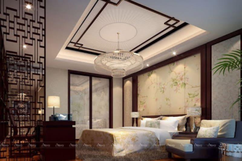 Phòng ngủ với hơi hướng kiến trúc Trung Hoa