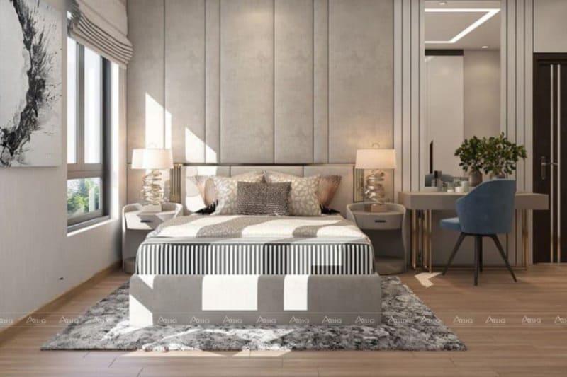 Phòng ngủ được bày trí đơn giản, giường bọc nỉ êm ái mỗi khi đặt lưng
