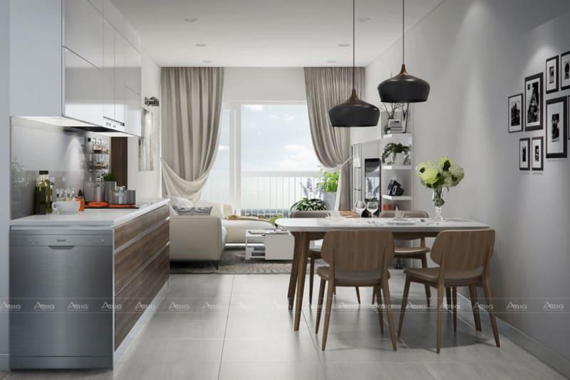 Thiết kế không gian mở giữa khu vực nhà ăn và phòng khách