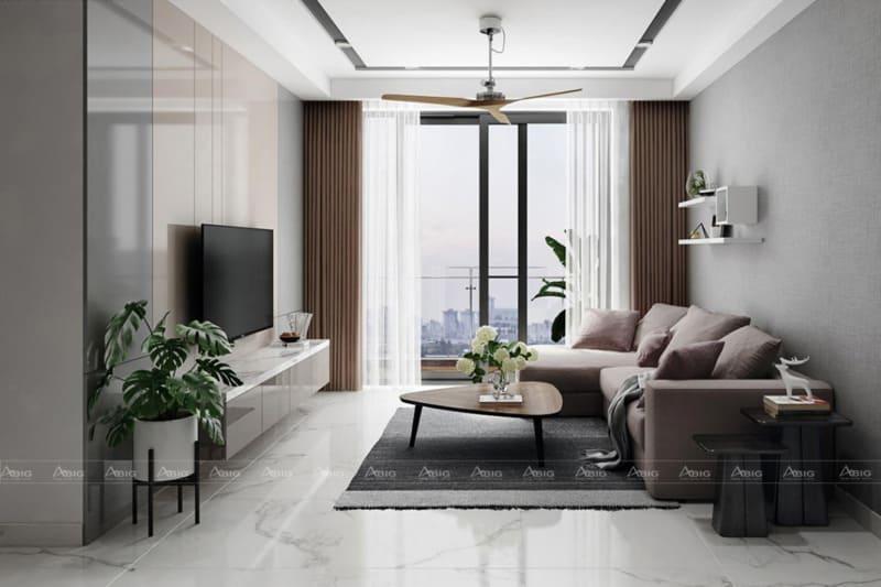 Bộ ghế sofa màu kem đã làm tăng thêm sự tinh tế cho nội thất căn phòng.