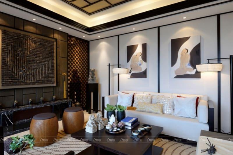 Phong cách Á Đông cho chung cư phòng khách