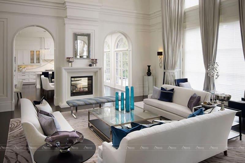 Phòng khách tân cổ điển với tông trắng nhẹ nhàng