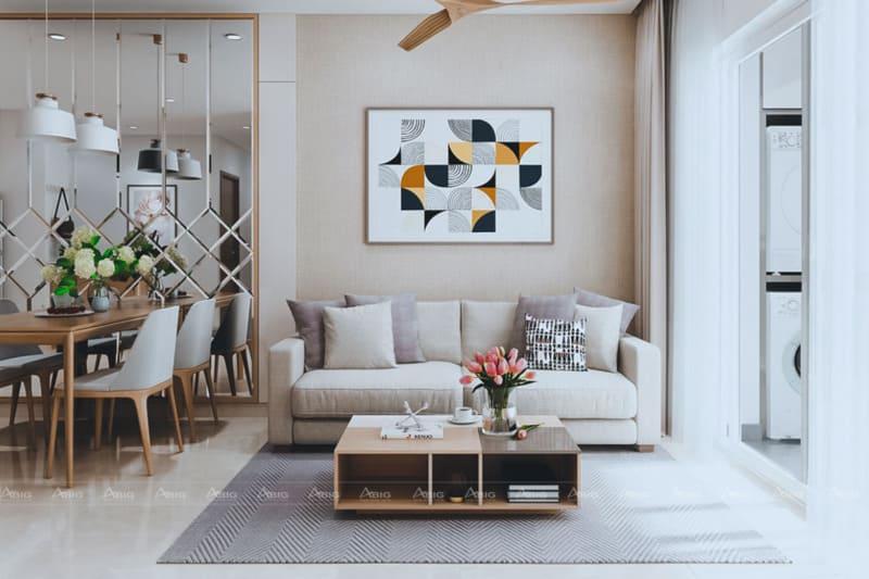 Không gian sang trọng của phòng khách với sự bày trí của bức họa nghệ thuật cùng nội thất gỗ cao cấp.