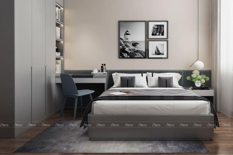 Phòng ngủ được thiết kế kín đáo với nội thất gỗ