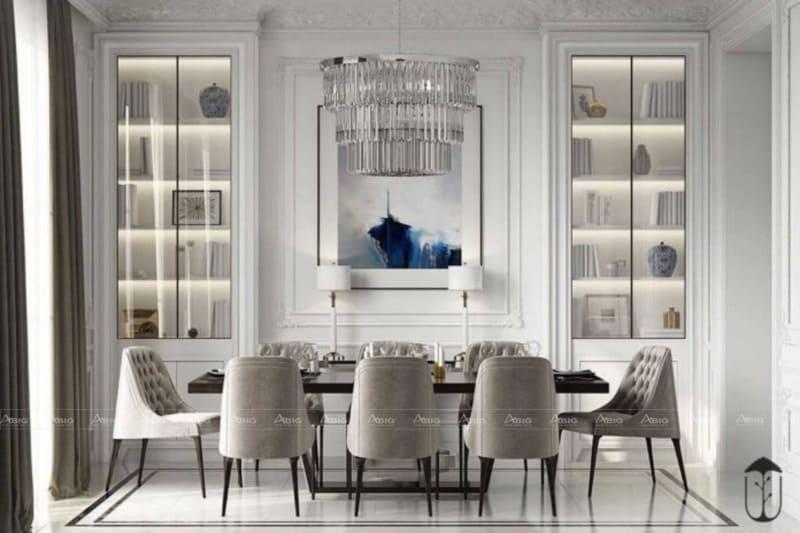Phòng ăn với tông màu trắng xám, nhẹ nhàng và ấm cúng