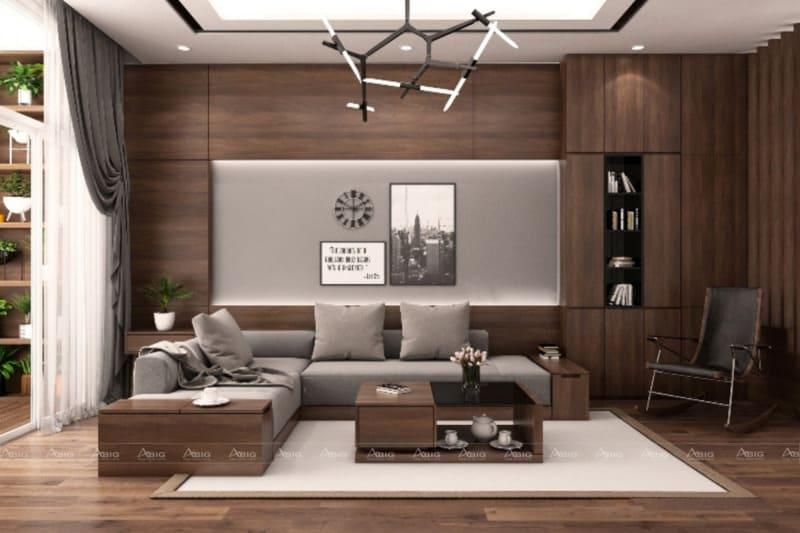 Gia chủ có thể sử dụng tone màu xám để làm nổi bật nội thất gỗ