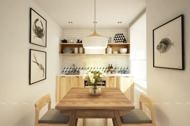 Bàn ăn đơn giản đặt gọn gàng một góc ở căn bếp, nội thất gỗ góp phần sang trọng cho không gian.