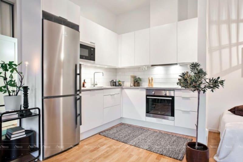 Căn bếp nhỏ gọn nhưng vẫn đầy nội thất và sự tiện nghi cho gia chủ