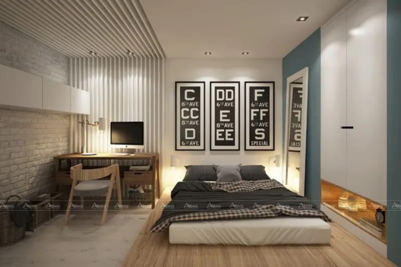 Phòng ngủ với nội thất gọn gàng để tiết kiệm diện tích sử dụng, đem lại sự kín đáo khi nghỉ ngơi.