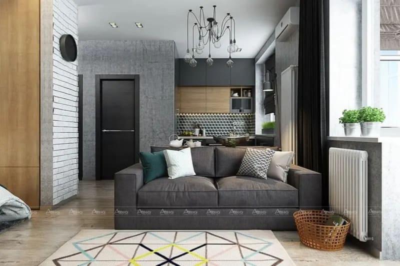 Nội thất không gian đơn giản với chiếc thảm lông nổi bật.