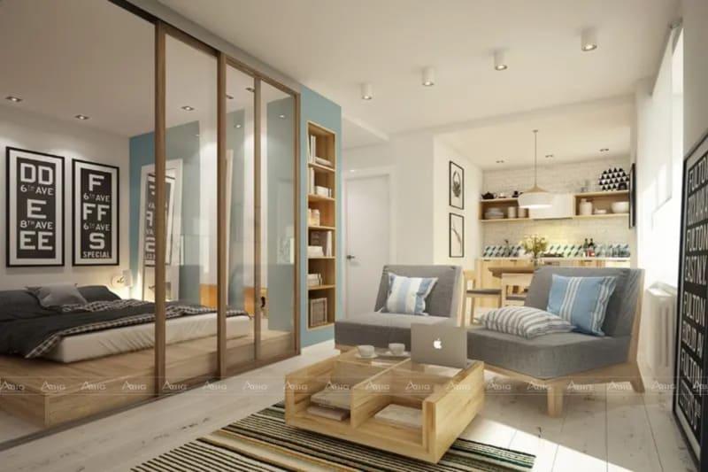 Ở phòng khách sẽ ưu tiên những bộ sofa có kiểu dáng đơn giản, có cùng gam màu vân gỗ với tủ, kệ trang trí. Tone màu chính vẫn là sắc trắng nhẹ nhàng.