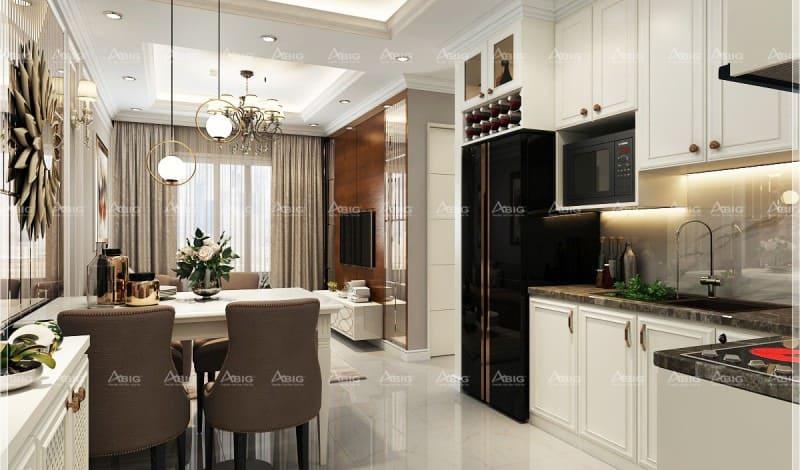 cách bố trí căn bếp chữ L không chiếm quá nhiều diện tích trong phong cách minimalism