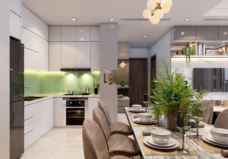 cách bố trí nội thất trong thiết kế phòng bếp chung cư