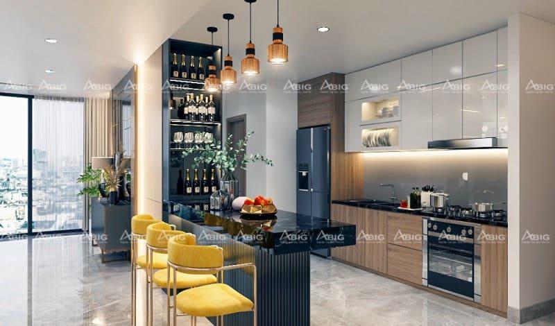 chất liệu gỗ tự nhiên được kiến trúc sư sử dụng trong thiết kế nội thất nhà bếp chung cư