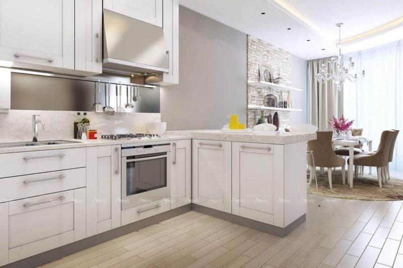 mẫu thiết kế bếp chung cư chữ L bằng chất liệu gỗ tự nhiên
