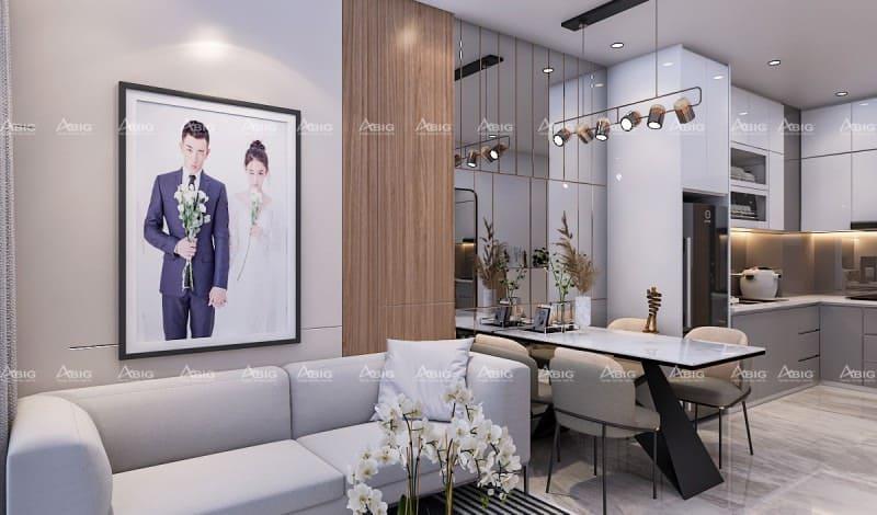 căn bếp chung cư được thiết kế với hệ màu cơ bản theo phong cách tối giản minimalism