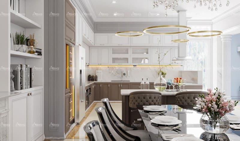 thiết kế bếp chung cư chữ L theo phong cách cổ điển đẹp