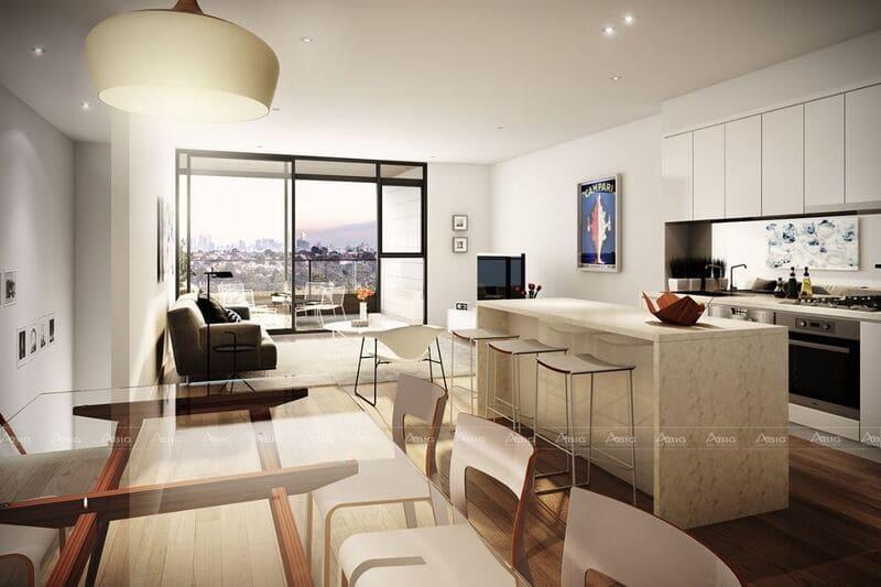 mẫu thiết kế không gian mở nhà bếp chung cư với bếp đảo đấy sáng tạo