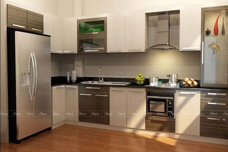 mẫu thiết kế nhà bếp chữ L hiện đại tối ưu diện tích cho chung cư