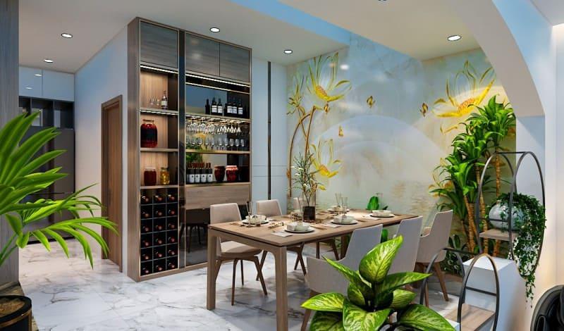 giấy dán tường 3d được sử dụng trong thiết kế nội thất nhà bếp chung cư phong cách scandinavian