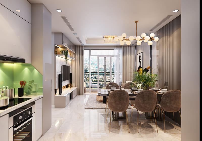 mẫu thiết kế nội thất bếp chung cư nhỏ gọn hiện đại