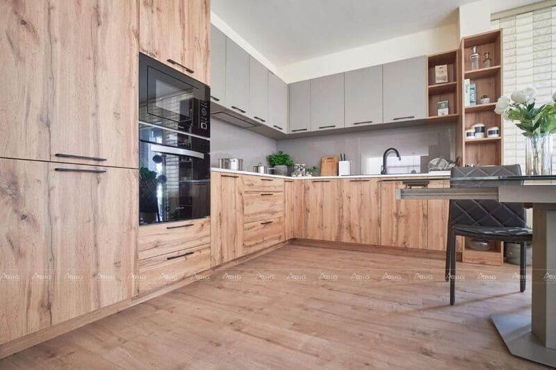 phòng bếp chung cư chọn nội thất cho tủ bếp bằng gỗ công nghiệp
