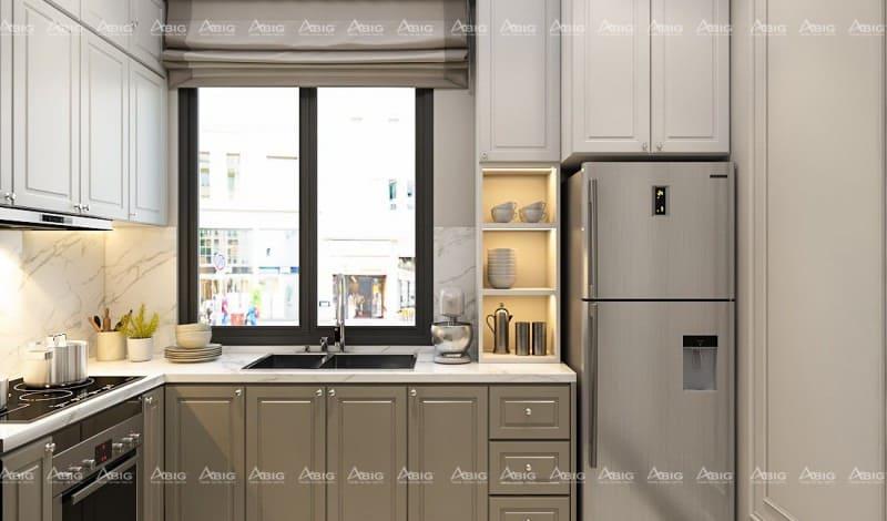 mẫu thiết kế phòng bếp chung cư phong cách cổ điển nhỏ gọn đầy đủ công năng