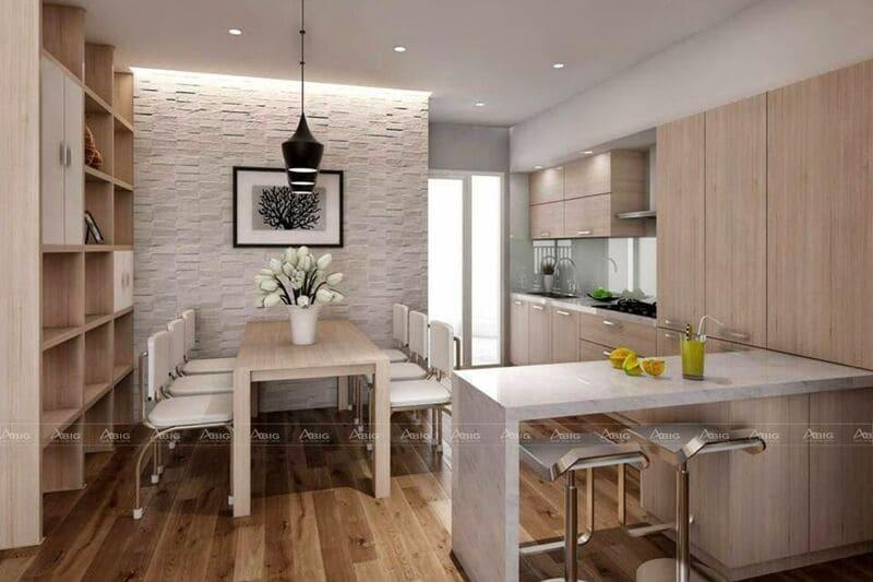 mẫu thiết kế nội thất tủ bếp một chiều thông minh tối ưu không gian căn hộ
