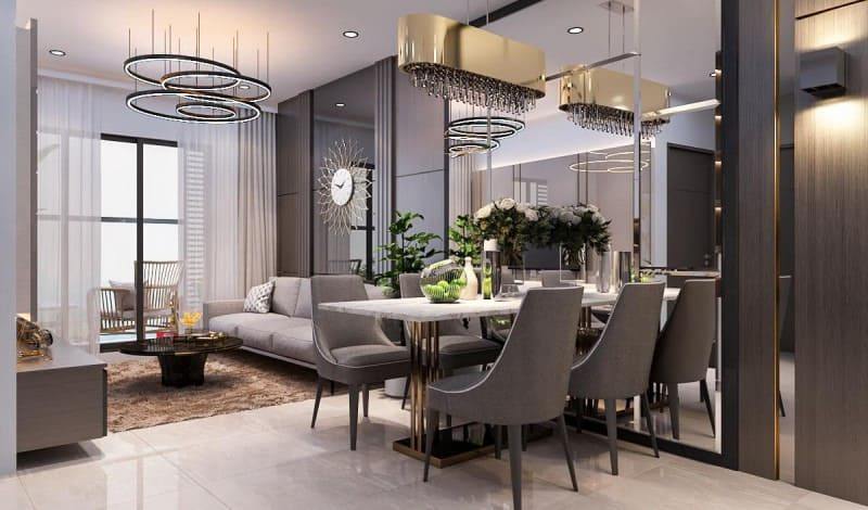 phòng bếp chung cư được thiết kế theo phong cách tối giản với không gian rộng rãi