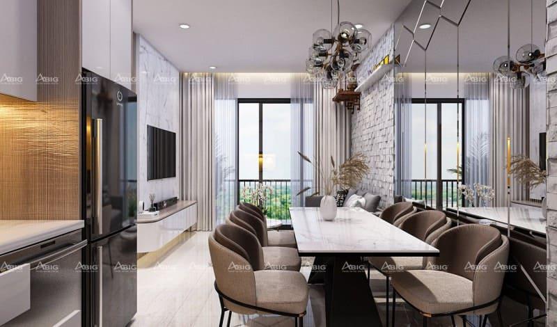 kiến trúc sư khéo léo lựa chọn kính ốp màu tủ bếp đồng bộ tone màu chung của căn hộ