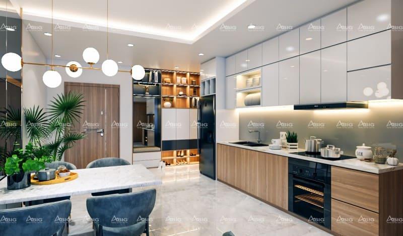 thiết kế bếp chung cư hiện đại sử dụng kính ốp hoa văn tăng tính thẩm mỹ cho căn hộ