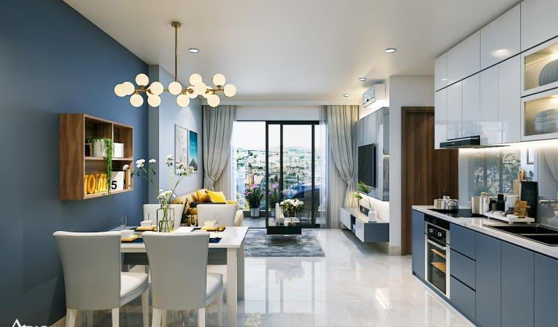 thiết kế nôi thất căn bếp chung cư nhỏ gọn ngăn nắp với không gian tối ưu và gam màu đối xứng