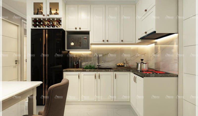nhà bếp chung cư hiện đại được thiết kế theo phong cách cổ điển nhỏ gọn