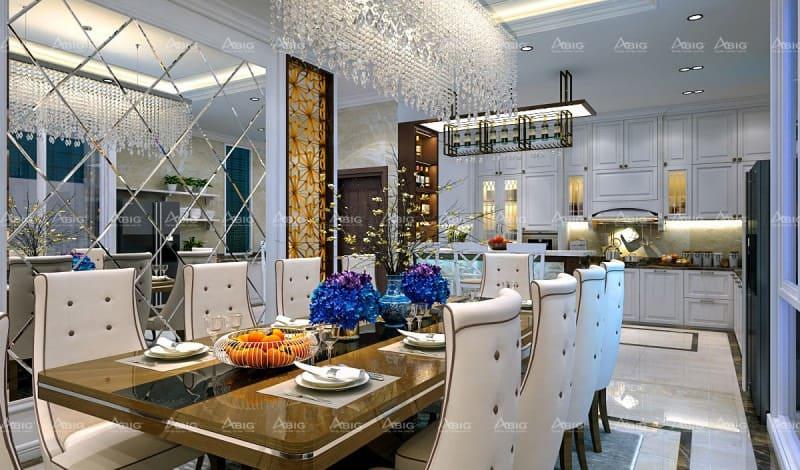 mẫu thiết kế nội thất cho căn bếp chung cư phong cách cổ điển