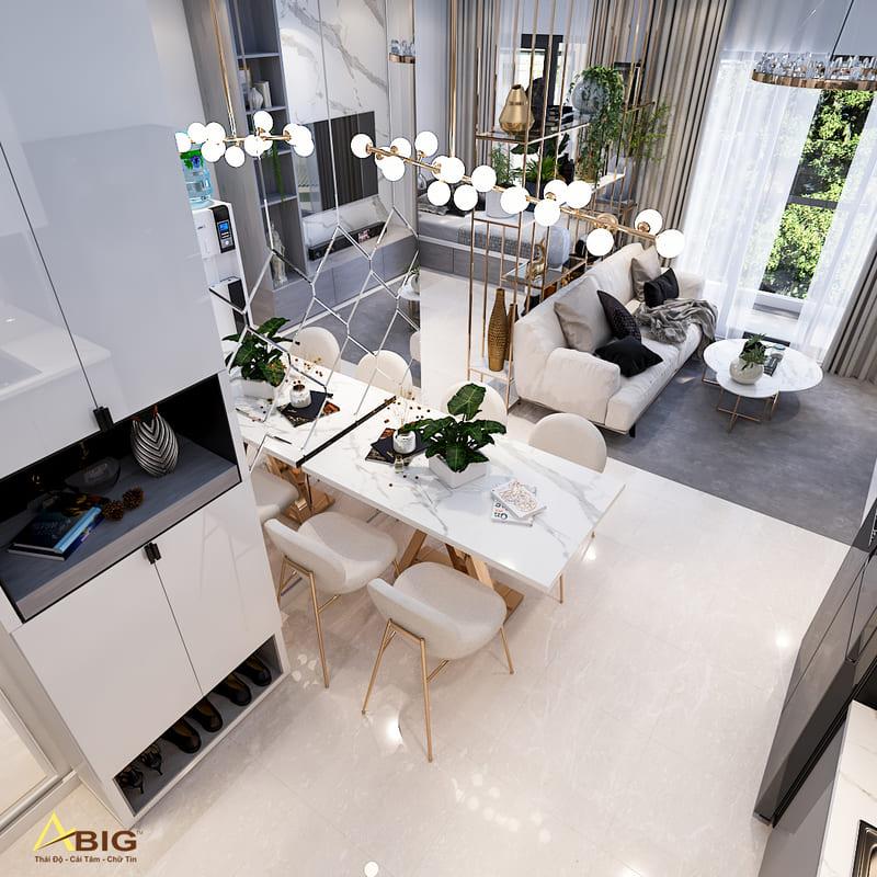 thiết kế nội thất nhà bếp chung cư theo phong cách bắc âu scandinavian