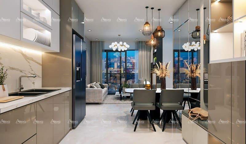 nhà bếp đơn chung cư được thiết kế nội thất theo phong cách bắc âu