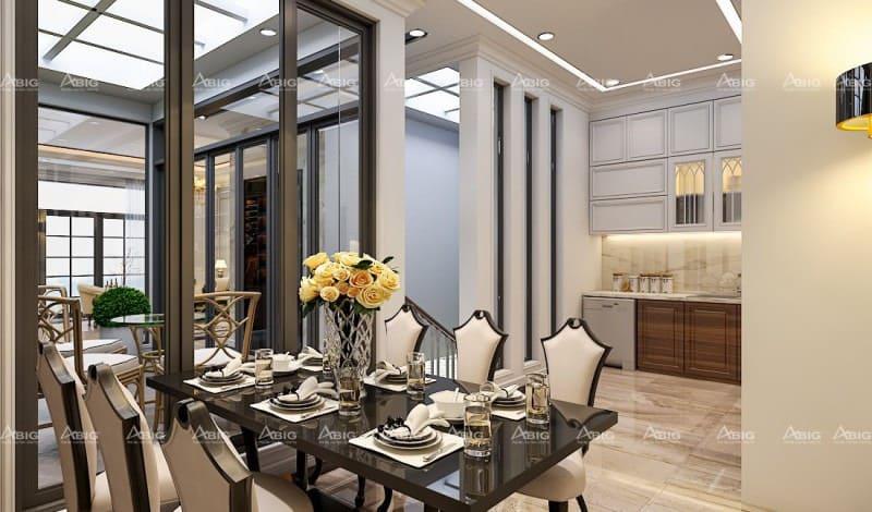 thiết kế nội thất phòng bếp chung cư phong cách tân cổ điển