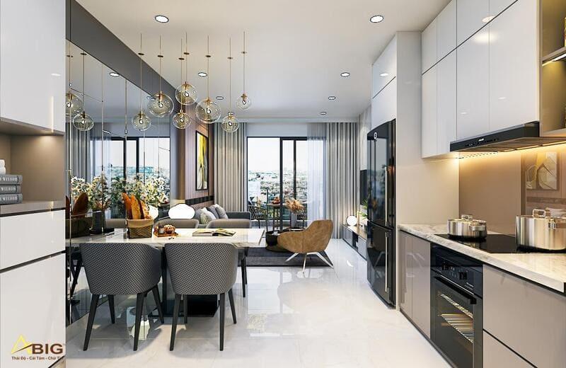 mẫu thiết kế căn bếp chung cư nhỏ đẹp hiện đại phong cách bắc âu