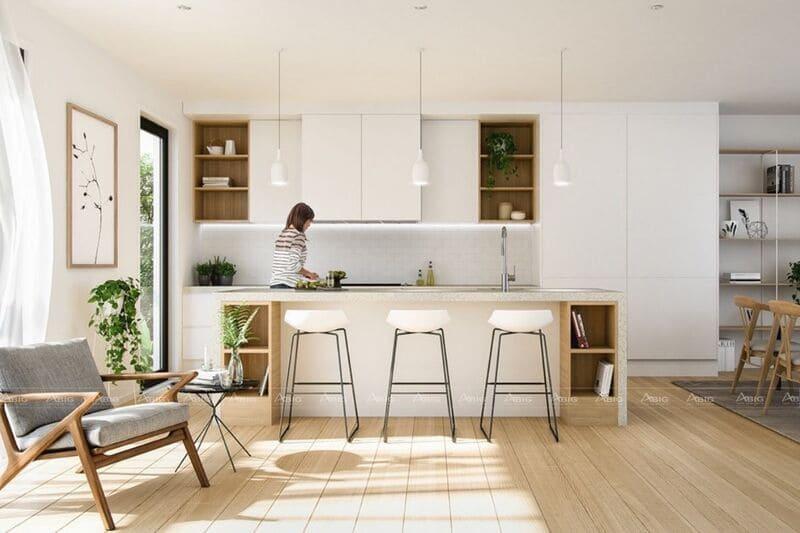 mẫu thiết kế căn bếp chung cư phong cách minimalism tận dụng ánh sáng tự nhiên