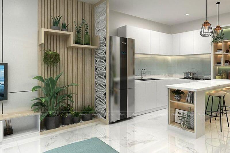 thiết kế phòng bếp chung cư hiện đại thông thoáng với chất liệu gỗ công nghiệp mdf