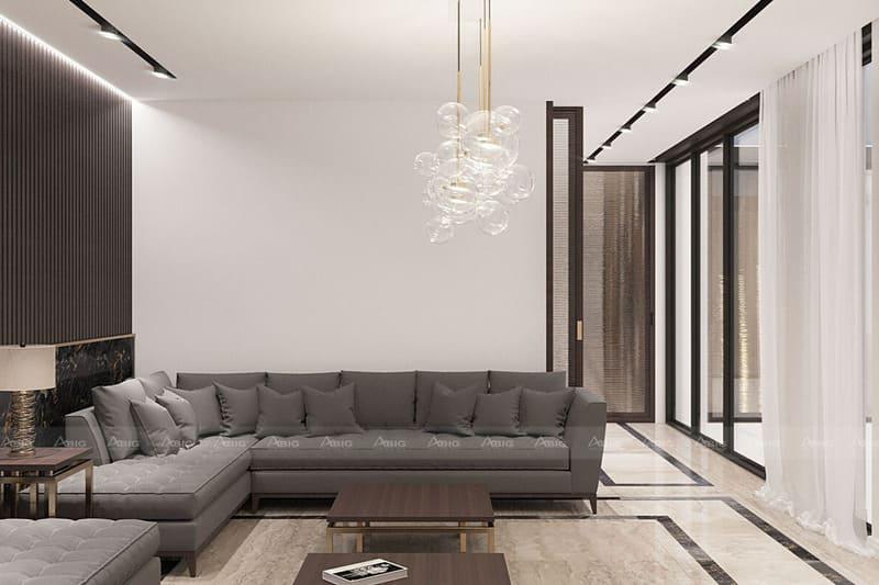 màu xám ghi được lựa chọn đồng bộ cho ghế sofa băng dài phòng khách