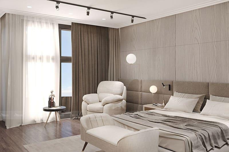 ghế sofa đặc biệt và bàn tròn được bố trí gần sát cửa sổ phỏng ngủ